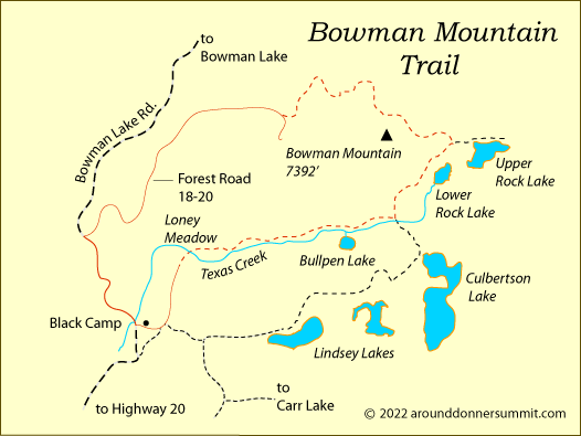 map of Bowman Mountain Trail, Tahoe National Forest, CA