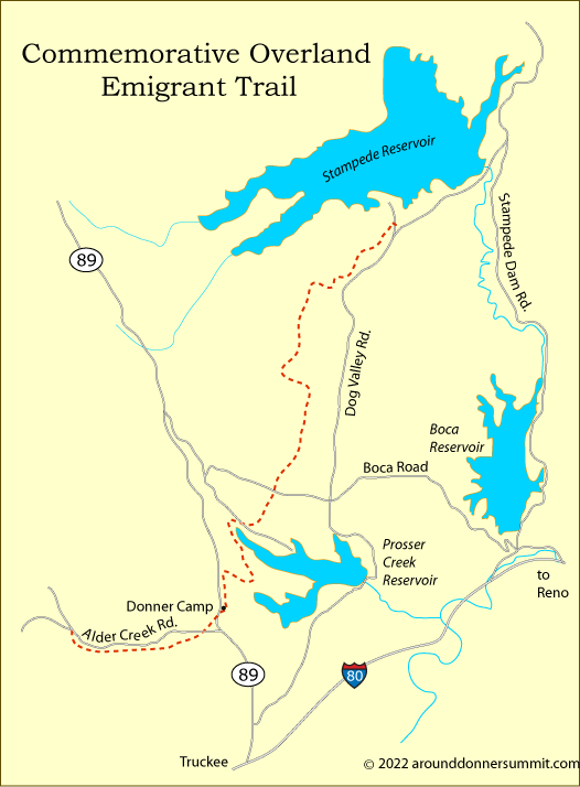 map of the Commemorative Overland Emigrant Trail, Tahoe National Forest, CA