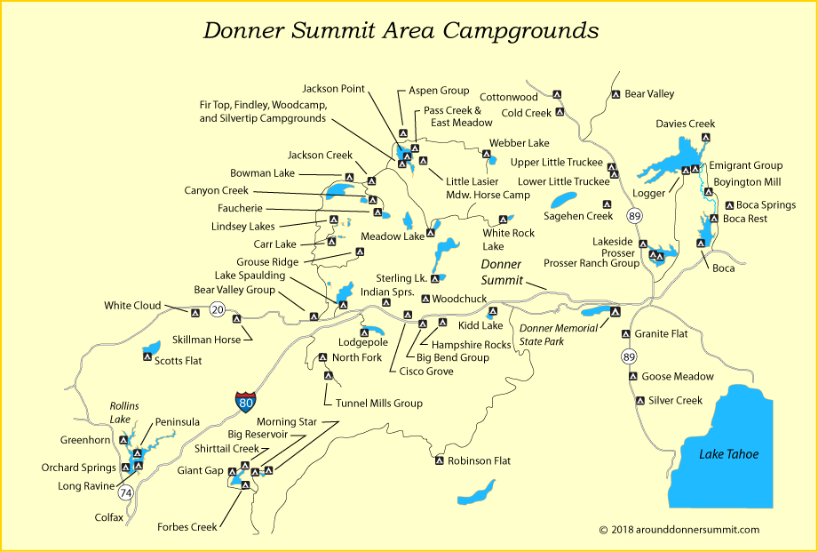 map of campgrounds around Donner Summit, CA