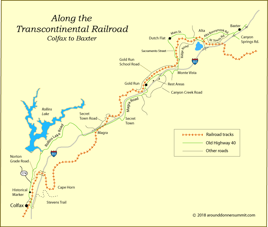 map of the transcontinental railroad from Colfax to Baxter, CA
