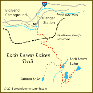 map of trail to Loch Leven Lakes in the Tahoe National Forest, CA