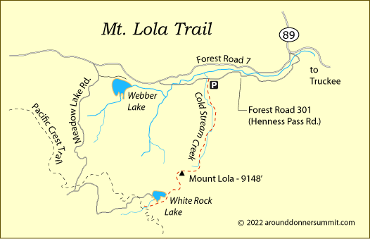map of the Mt. Lola Trail, Tahoe National Forest, CA
