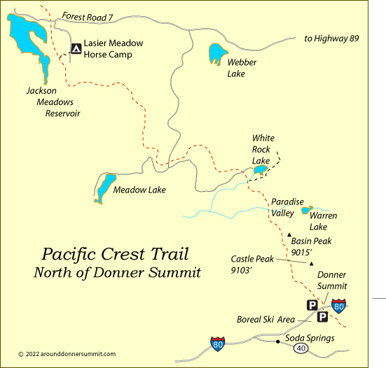 map of the Pacific Crest Trail north of Donner Summit, Tahoe National Forest, CA