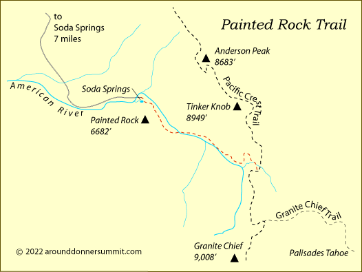 map of the Painted Rock Trail, Tahoe National Forest, CA