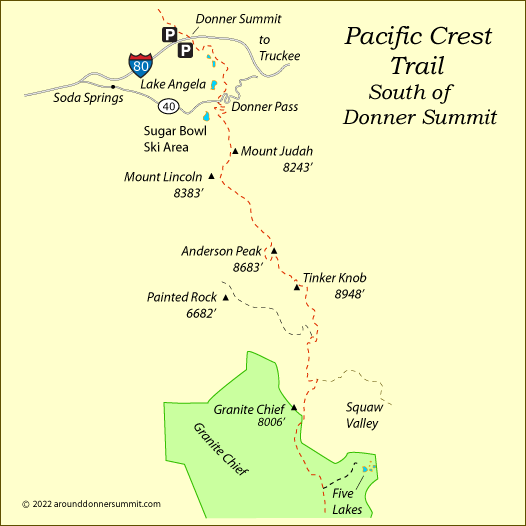 map of the Pacific Crest Trail south of Donner Summit, Tahoe National Forest, CA