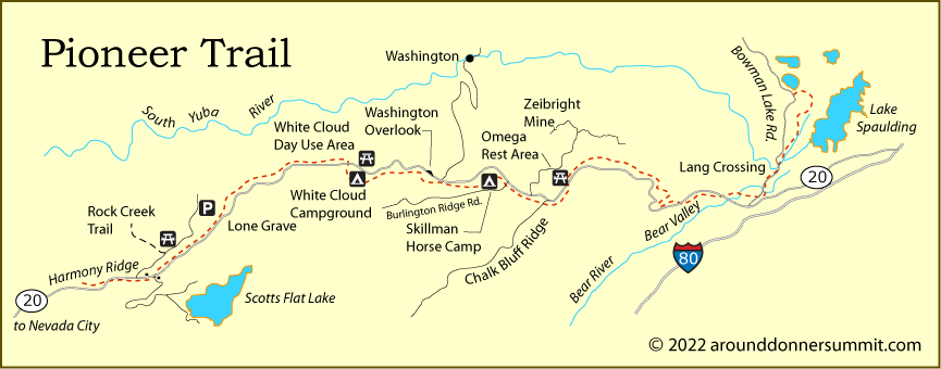map of the Pioneer Trail in Nevada County, CA