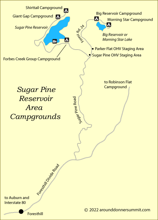 map of campgrounds near Sugar Pine Reservoir, Foresthill, CA
