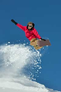 photo of snowboarder jumping